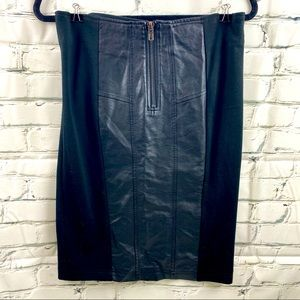 Gracia pencil skirt with faux leather panels